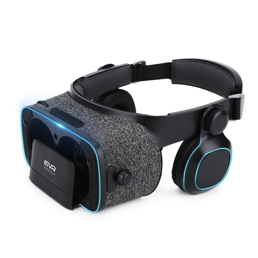 ETVR Upgraded 3D VR Glasses for Movies and Games with Stereo Headphone - More Lightweight Virtual Reality Headset with 120 Degree FOV - Fit for 4.7''-6.2'' iPhone & Android Smartphones - Black