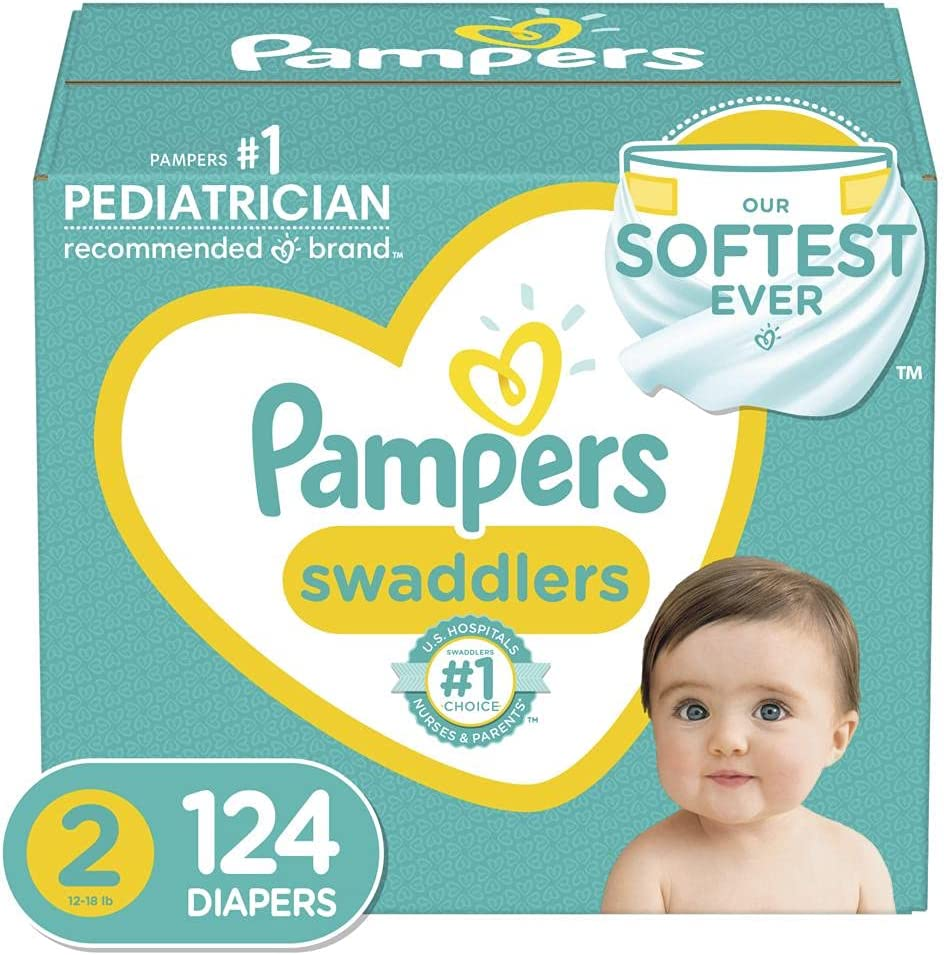 Diapers Size 2, 124 Count - Pampers Swaddlers Disposable Baby Diapers, Giant...