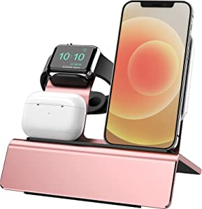 Yestan Charging Dock Compatible with Apple Watch Magsafe Stand, iWatch 6/SE/5/4/3/2/1, AirPods Pro and iPhone Series 12/11/Xs/X Max/XR/X/8/ 8P/7/7P/6S/6S Plus(Charger & Cables Needed) Rose Gold