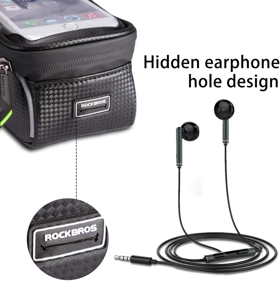 HSNMEY Water Resistant Touch Screen Bicycle Top Tube Bag Hidden Earphone Holes and Reflective Bike Front Frame for 6 Cell Phone