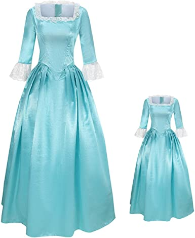 MIAOCOS Family Matching Outfits Mommy Kid Hamilton Dresses Costume Victorian Schuyler Blue Dress Vintage Cosplay 1Pc