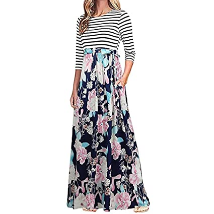 70c778e18 Twinsmall Women 3/4 Sleeve Striped Floral Print Tie Waist Party Maxi Dress  With Pockets