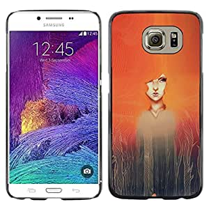 LECELL--Funda protectora / Cubierta / Piel For Samsung Galaxy S6 SM-G920 -- Watercolor Painting Girl Redhead --