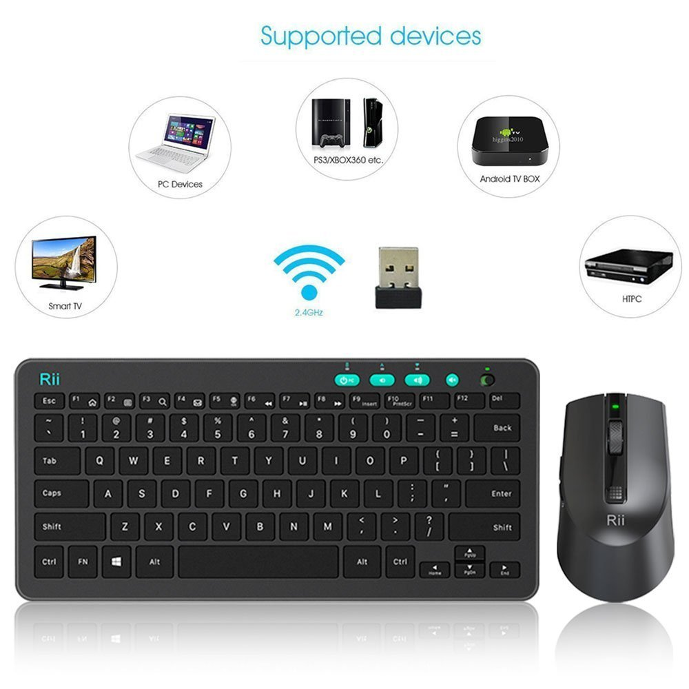Rii RKM709 2 4Ghz Ultra-Slim Wireless Keyboard and Mouse Combo Multimedia  Compact Keyboard and Mouse for PC Laptop,Desktop,Raspberry Pi,KODI HTPC  XBMX