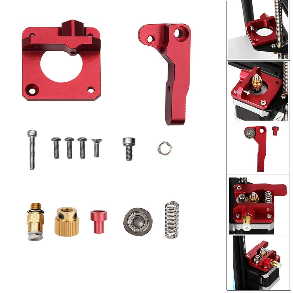 CCTREE Creality Upgrade Replacement MK8 Extruder Aluminum Alloy Block Bowden Extruder 1.75mm Filament for Ender 3,CR-7,CR-8, CR-10, CR-10S, CR-10 S4, and CR-10 S5 CC-Red Frame
