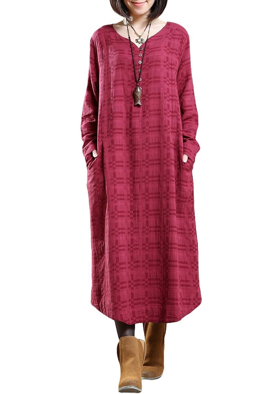 Vogstyle Damen Plaid Pullover Große Saum Lose Kleider mit Seitentaschen