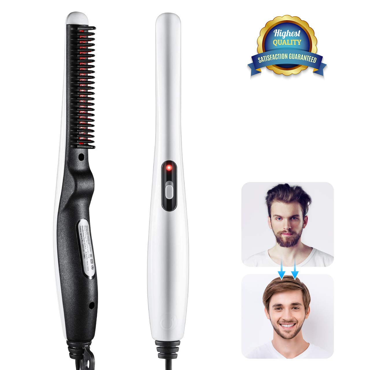 Beard and Hair Straightening Brush, LARMHOI Electric Comb for Men with Side Hair Detangling, Curly Hair Straightening for Beard Style, Hair Style, Women Short Hair Straightening by LARMHOI