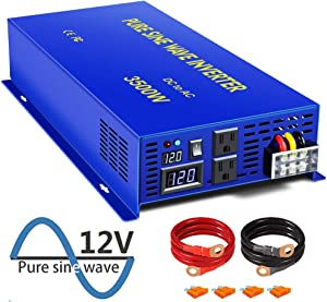 3500 Watt Pure Sine Wave Inverter 12V to 110V 120V AC, 3500W DC to AC Car Power Invert Surge 7000W Power Converter for Solar System.(3500W 12V DC to 120V AC)