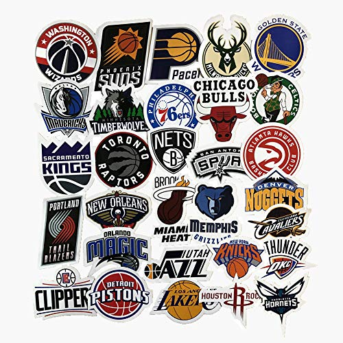 (Jasion 30-Pcs Vinyl Stickers Waterproof NBA Basketball Team Logo All Complete Set Graffiti Decals for Cars Motorcycle Skateboard Portable Luggages Ipad Laptops)