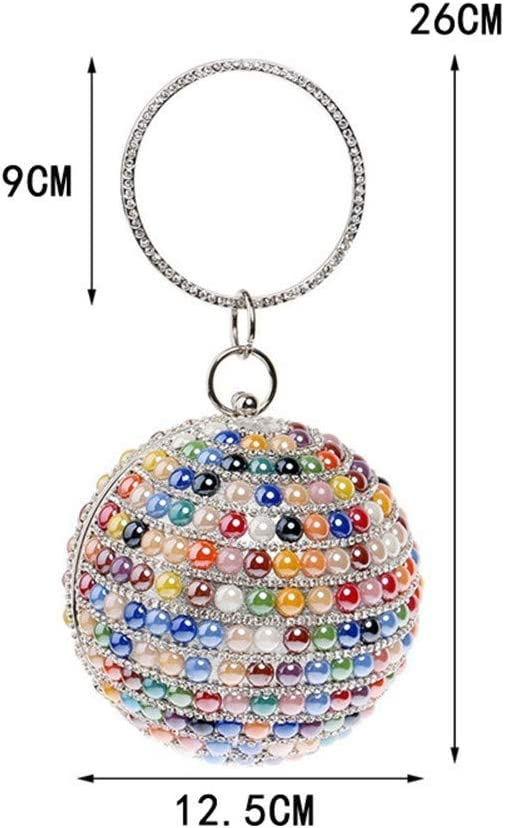 LFNIU Borsette Pochette da Donna Borse da Sera Diamanti con Borchie Americana Borse Rotonde Piccole sferiche Borse per Banchetti Borse/Regali di Nozze Red