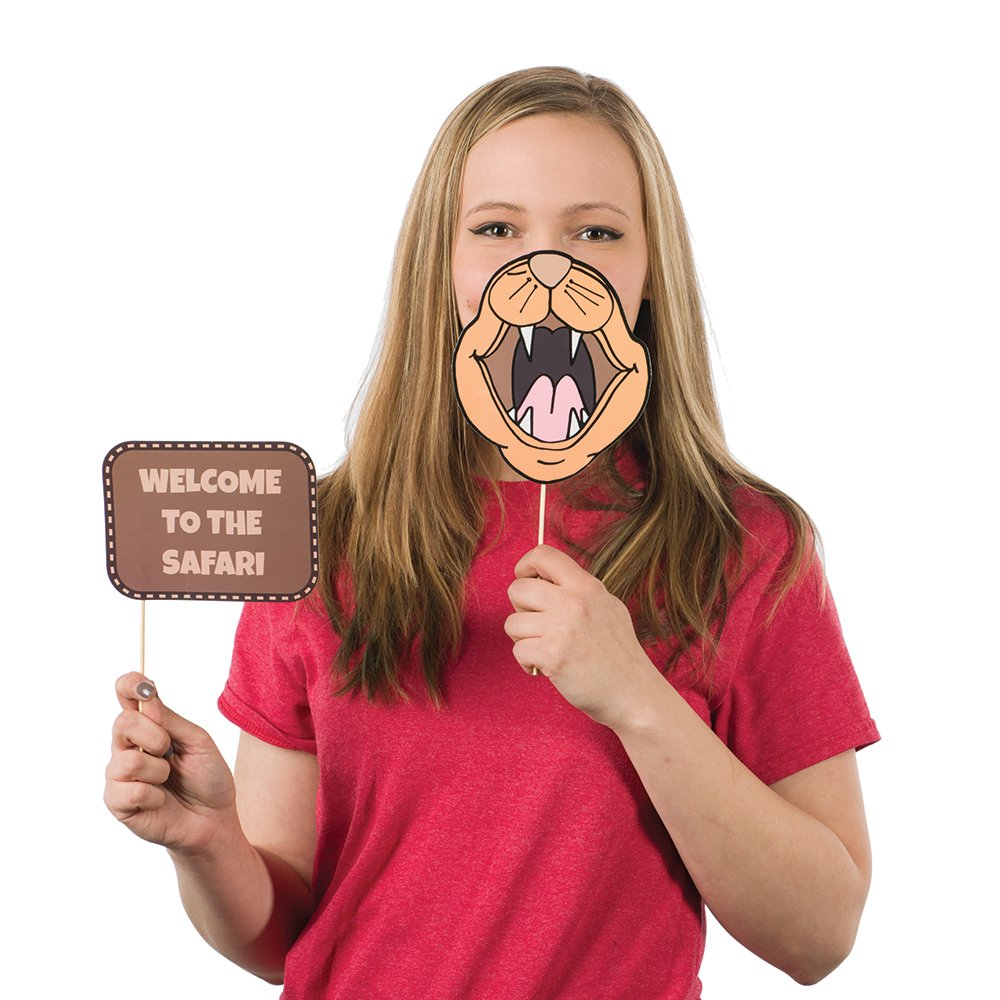 Blue Orchards Safari Photo Props (32 Pieces) for Photo Booths, Kids Birthdays, Jungle Themed Parties and More! Our Safari Photo Booth Party Favors are Pre-Made (Not DIY) for Your Convenience! by Blue Orchards (Image #5)