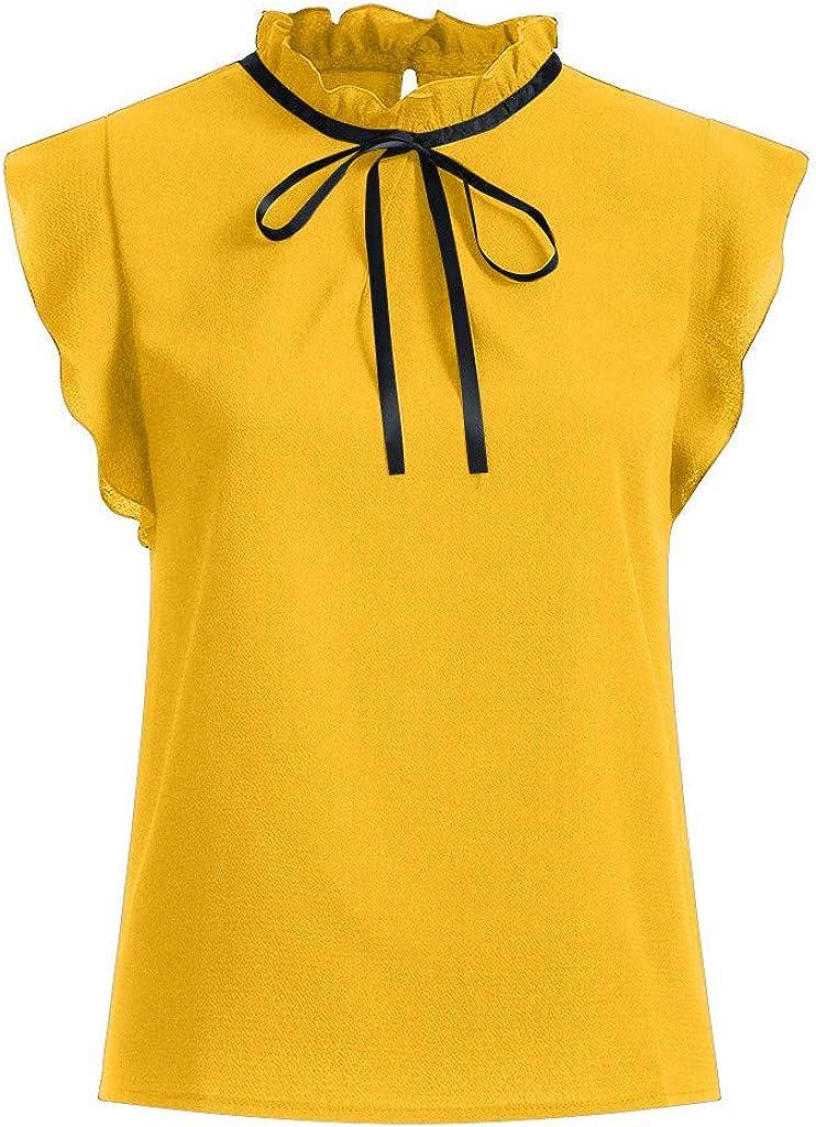 RNTOP Fashion Women Chiffon Blouse Ladies Solid Casual Cap Sleeve Bow Tie T-Shirt