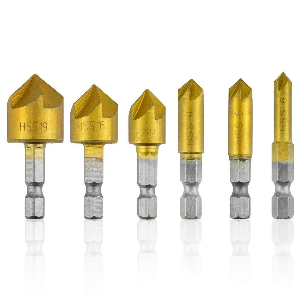 QQDEAL - Juego de 6 brocas avellanadoras HSS de 90 grados, 5 brocas de titanio para cortar champá n 5 brocas de titanio para cortar champán