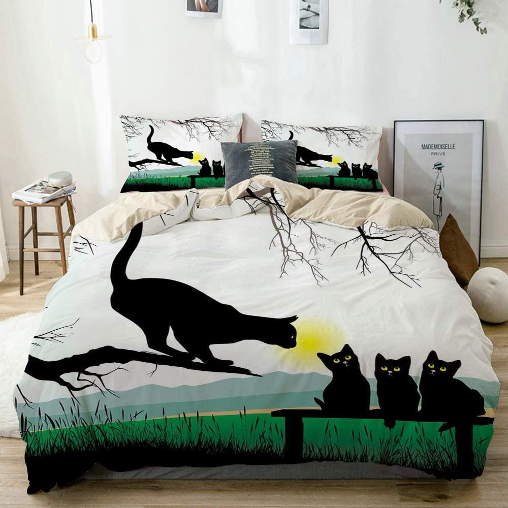 Minalo Duvet Cover Set Beige,Mother Cat on Tree Branch and Baby Kittens in Park Best Friends I Love My Kitty Graphic,Decorative 3 Piece Bedding Set with 2 Pillow Shams King Size