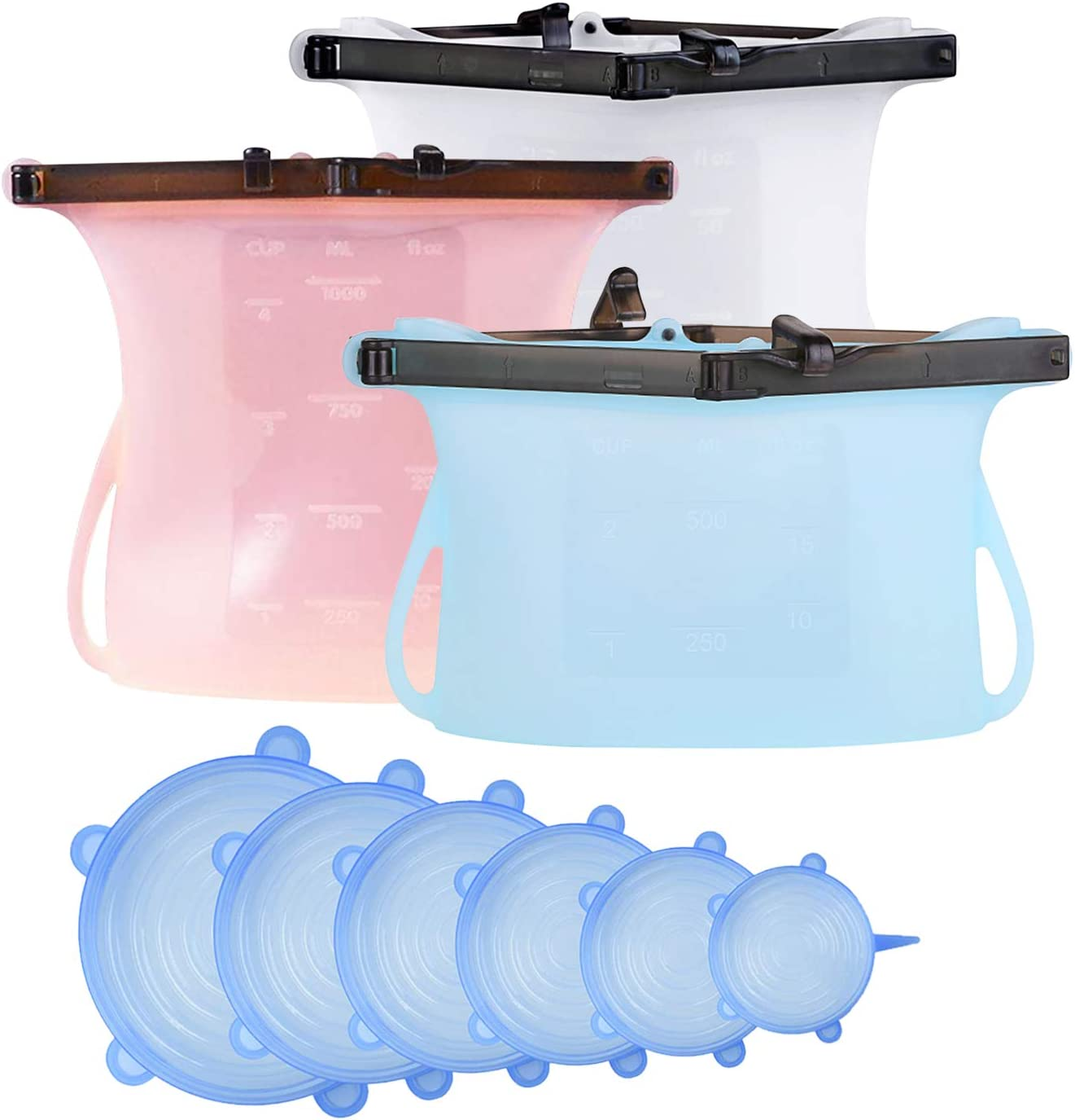 Silicone Food Containers- Food Storage Bags(3pcs)+Stretchy Container Lids (6 pcs)| Stand-Up Flat Bottom |Airtight Bags for Storage Liquid, Fruits, Meats and Vegetables | Lids- Alternative to Cling Film, Microwave & Dishwasher Safe
