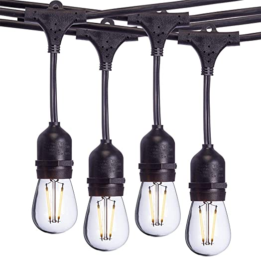 Aceland 24 Ft Waterproof Heavy-Duty LED Outdoor String Lights – Hanging, 7 Head Dimmable 2W Shatterproof Vintage Edison Bulbs Commercial Grade Patio Lights Create Cafe Ambience in Your Backyard