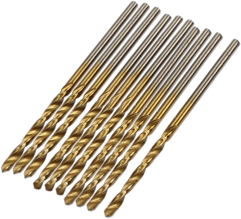 uxcell 10 Pieces 52mm Length 2mm Diameter Twist Drill Bit with Straight Shank
