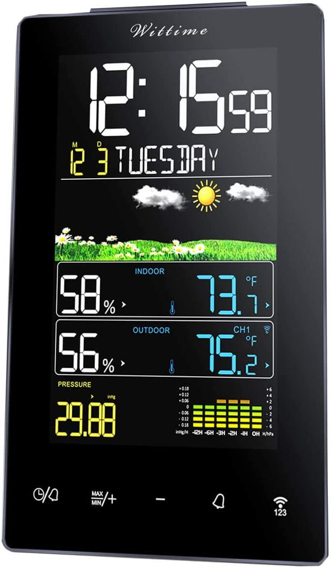 Wittime 2078 Weather Station Forecaster Wireless Indoor Outdoor Thermometer Digital Temperature Hygrometer with Large LCD Touch Color Screen Barometer Alarm Clock with Transmission Range of 328ft