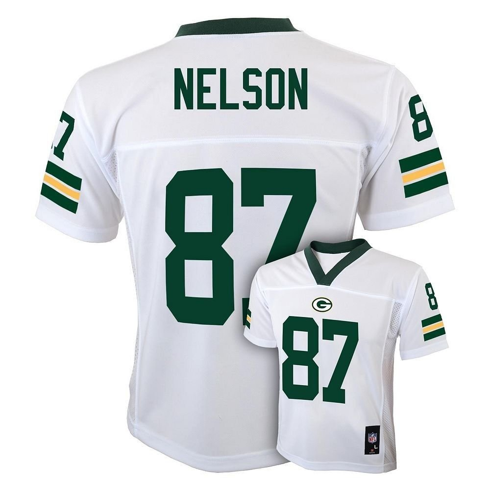 Amazon.com   Jordy Nelson Green Bay Packers  87 NFL Youth Mid-Tier Jersey  White (Youth Medium 10 12)   Sports   Outdoors d895f4e17