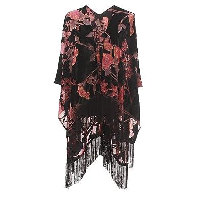 0d51cfae71 Women s Velvet Burnout Kimono Cover Up – Elegant Outfit Ruana with Fringe