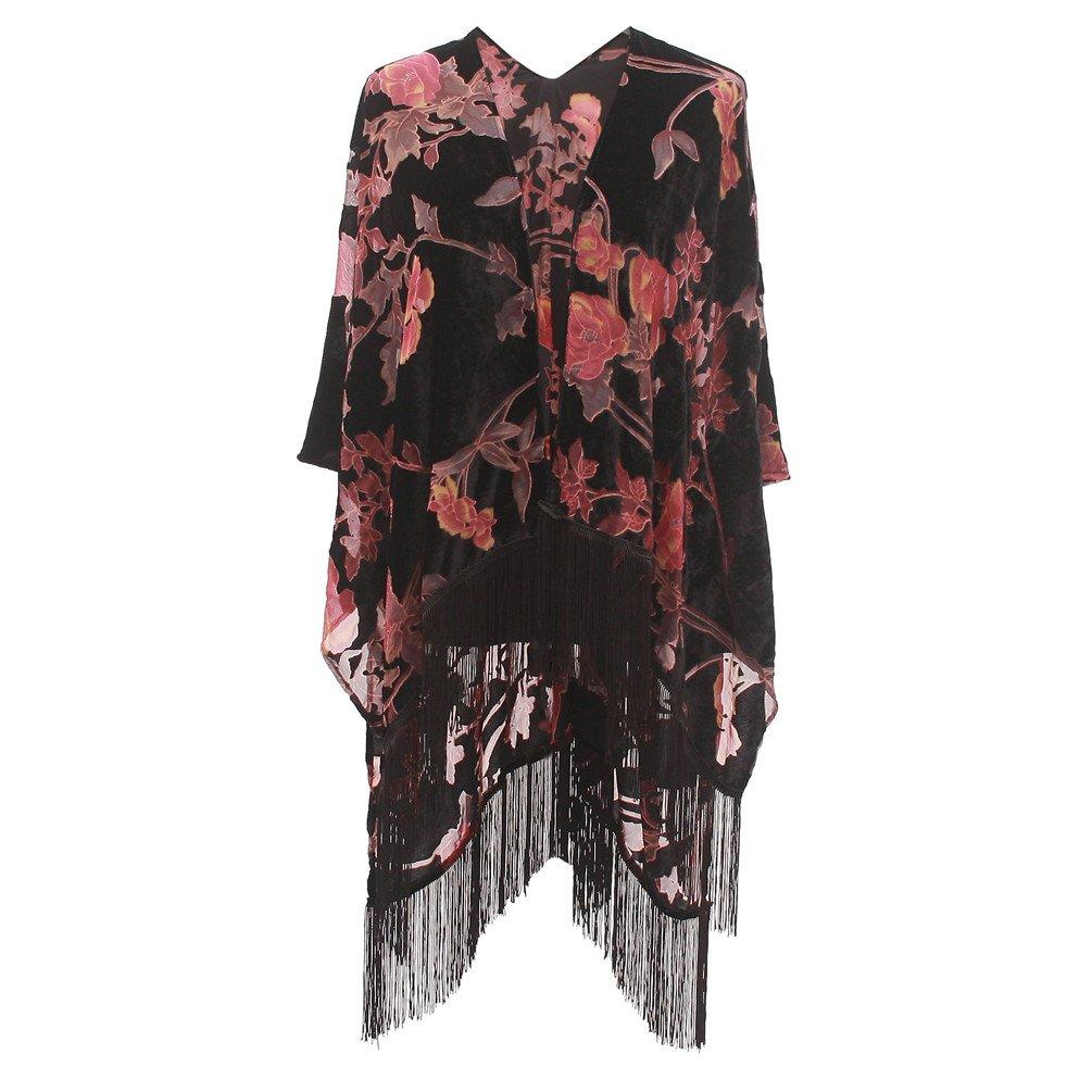 Women's Velvet Burnout Kimono Cover Up – Elegant Outfit Ruana with Fringe| Stylish Spring Poncho Shawl Coverup for Ladies| Top Gifting Idea