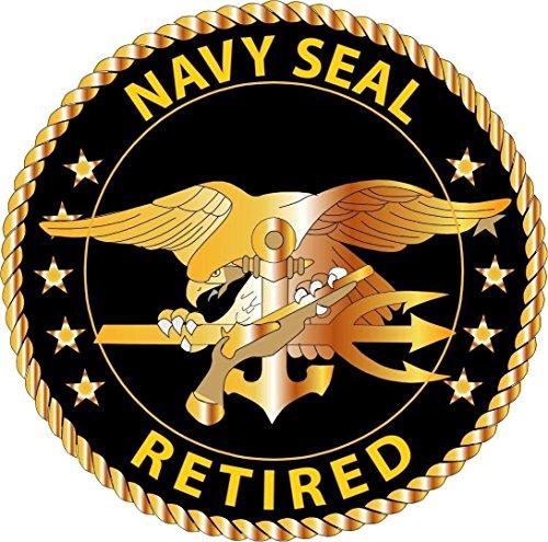 MFX Design Us Navy Seal Retired Bumper Sticker Decal Laptop Sticker Decal Round Vinyl - Made in USA 3 in. Around