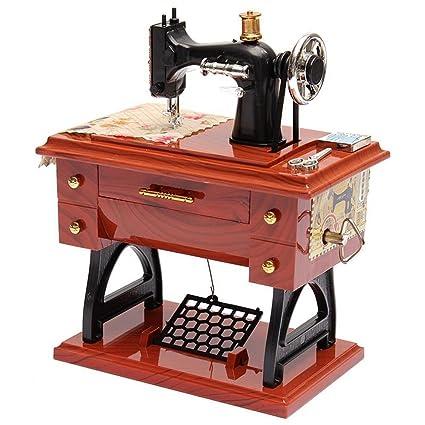 Máquina de coser Musical Box Vintage Mini Clockwork Relax Music Box Regalo de Navidad 80Store