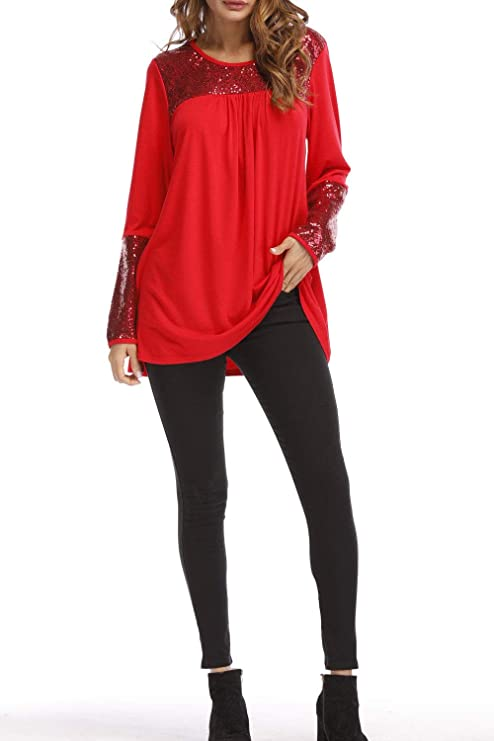 d7cc3a079b647 Zara Beez Women Shimmer Sequin Bust Neck Long Sleeves Top at Amazon Women s  Clothing store