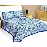 Pure Cotton Jaipuri Elephant N Bird Printed Double Bedsheet - 3 Pcs