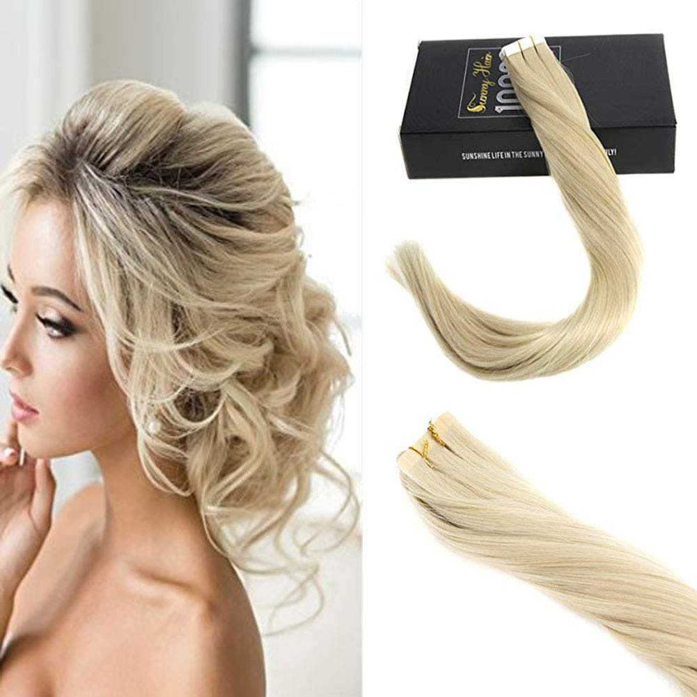Sunny 18inch Tape in Hair Extensions Balayage Two Tone Color Dark Ash Blonde with Golden Blonde Highlights Tape in Extensions Balayage Human Hair Extensions 25g 10pcs ltd