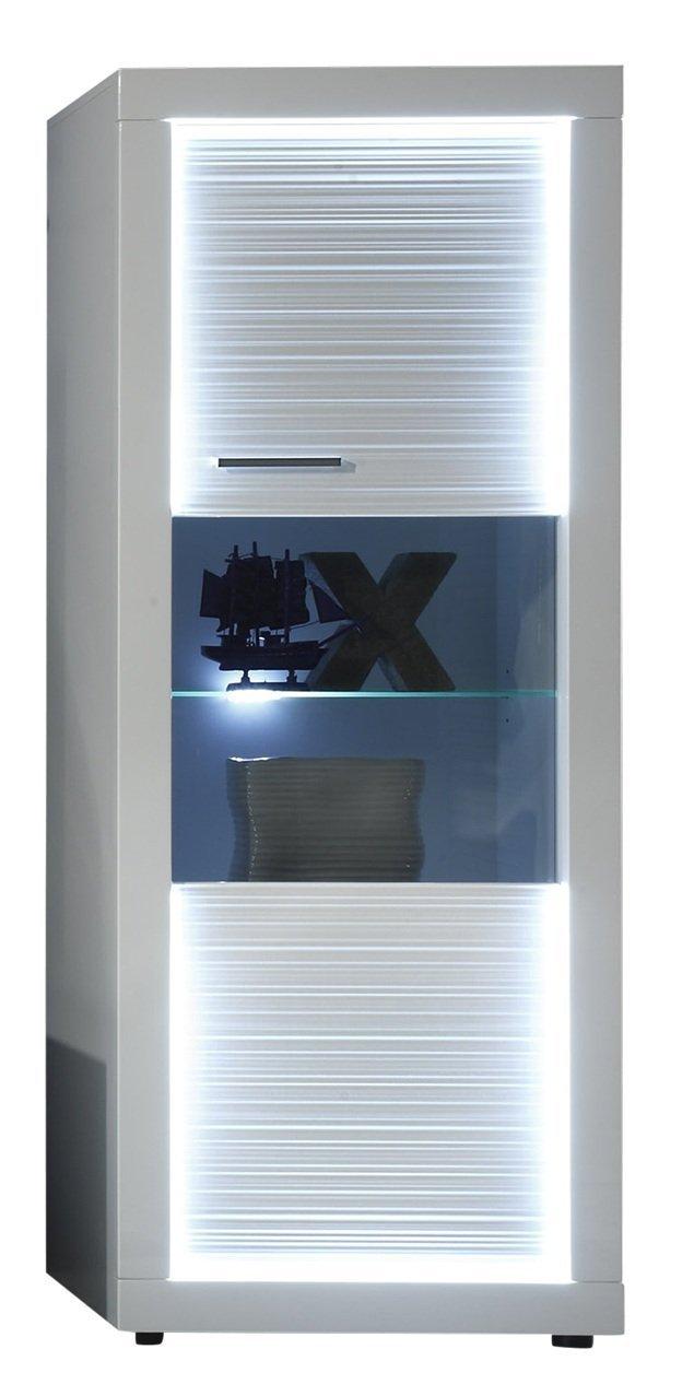 trendteam Wohnzimmer Vitrine Schrank Wohnzimmerschrank Starlight, 60 x 156 x 41 cm in Korpus Weiß, Front Weiß Glanz mit Rillenoptik mit LED Beleuchtung