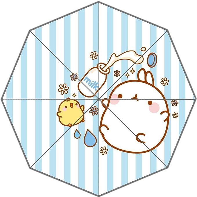 angelinana Lovely Corea Molang Conejo Kawaii patrón personalizado plegable sol lluvia paraguas resistente al viento resistente