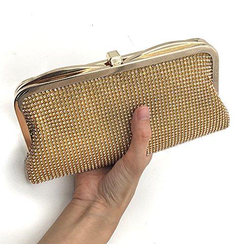 HBeauty - Cartera de mano de Satén para mujer dorado