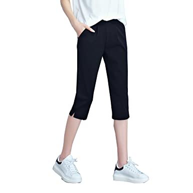 Likener Trend Black Women Capri Leggings Yoga Pants with Pockets ...