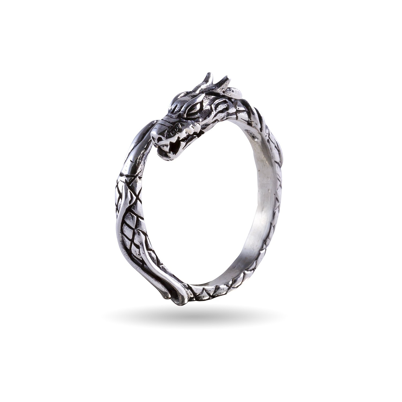 925 Sterling Silver Viking Wikinger Jormungand Midgard Serpent Snake Dragon Ring