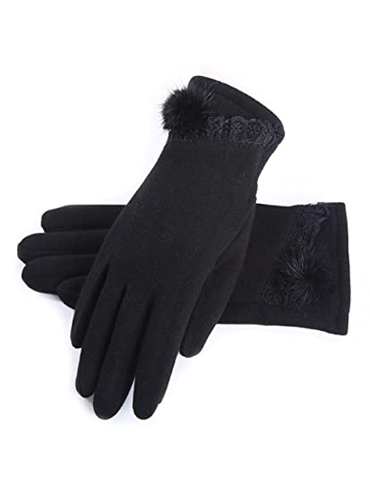 a8de731a2 Amazon.com: Jovono Women's Gloves Touch Screen Warm Winter Thick Gloves  With Button for Women and Girls (Black): Clothing