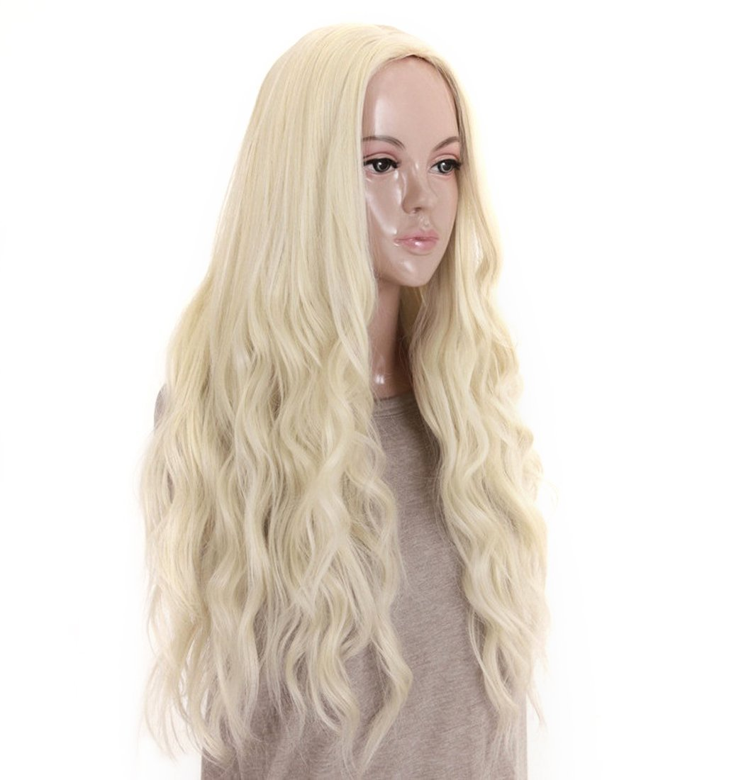 kalyss 24 inches Platinum Blonde Curly Wavy Heat Resistant Synthetic Hair Wigs for Women Middle Parting None Lace Front Hair Replacement Wigs by Kalyss