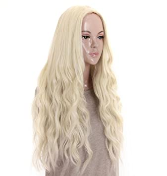 Amazon.com   kalyss 24 inches Platinum Blonde Curly Wavy Heat Resistant  Synthetic Hair Wigs for Women Middle Parting None Lace Front Hair  Replacement Wigs   ... a86a965632