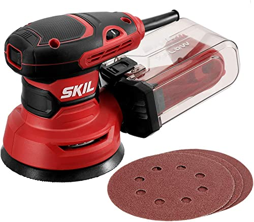 SKIL 5 Random Orbital Sander, Includes 3pcs Sanding Papers and Dust Box – SR211601