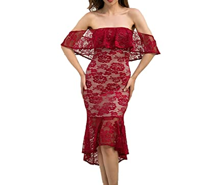 Off Shoulder Trumpet/Mermaid Red Lace Dress 2018 New Sexy Club Bodycon Midi Party Dress Vestidos at Amazon Womens Clothing store: