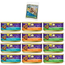 Wellness Natural Grain-Free Cubed Wet Cat Food Variety Pack Box - 3 Flavors (Tuna, Turkey, and Chicken) - 12 (5.5 Ounce) Cans - 4 of Each Flavor with Catnip Bag