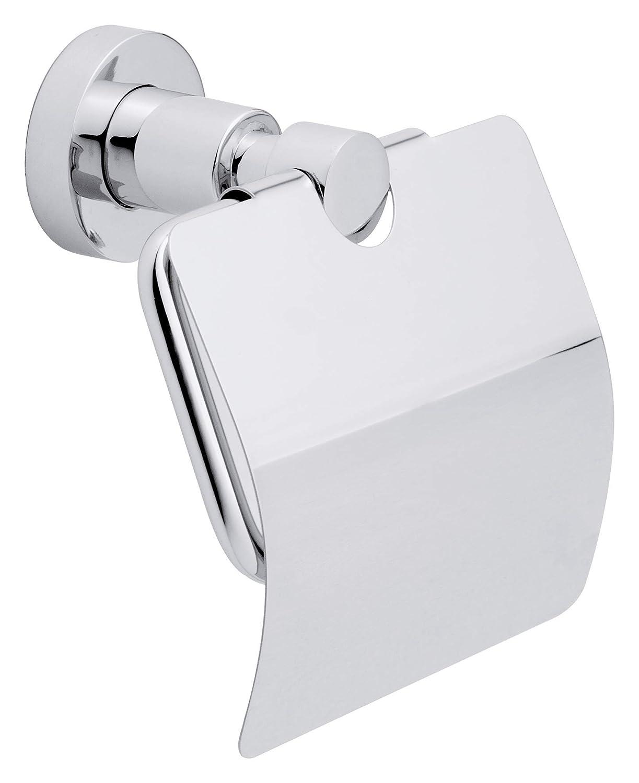 Tesa Loxx WC-Papierhalter (mit Deckel, verchromt, rostfrei, inkl. Klebelö sung, hohe Haltekraft (bis 6kg), 135mm x 140mm x 80mm) 40273-00000-00