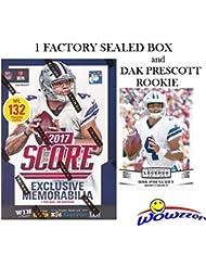 2017 Score NFL Football EXCLUSIVE Factory Sealed Retail Box with 132 Cards & SPECIAL MEMORABILIA Card Plus BONUS 2016 DAK PRESCOTT ROOKIE! Includes 20+ INSERT & 30+ RC Cards of Top NFL Picks! WOWZZER!