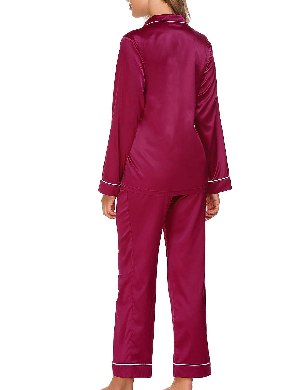 ADOMER Mujer Pijama 2 Piezas Satén Camiseta Raso Prenda Manga Larga Ropa Dormir: Amazon.es: Ropa y accesorios