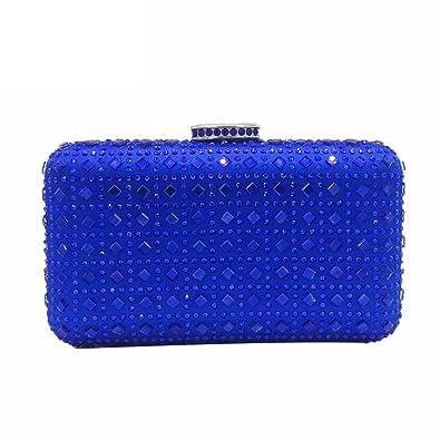 04b6469e473 Plaid Women Royal Blue Diamond Wedding Clutch Handbag Crystal Evening Bag