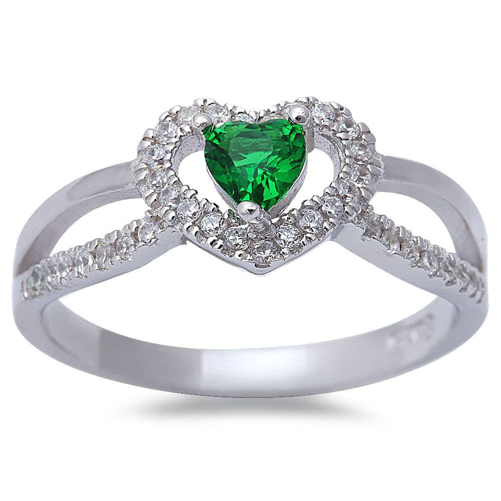 New Style Green Emerlad /& Micro Pave Cubic Zirconia .925 Sterling Silver Ring Sizes 5-9