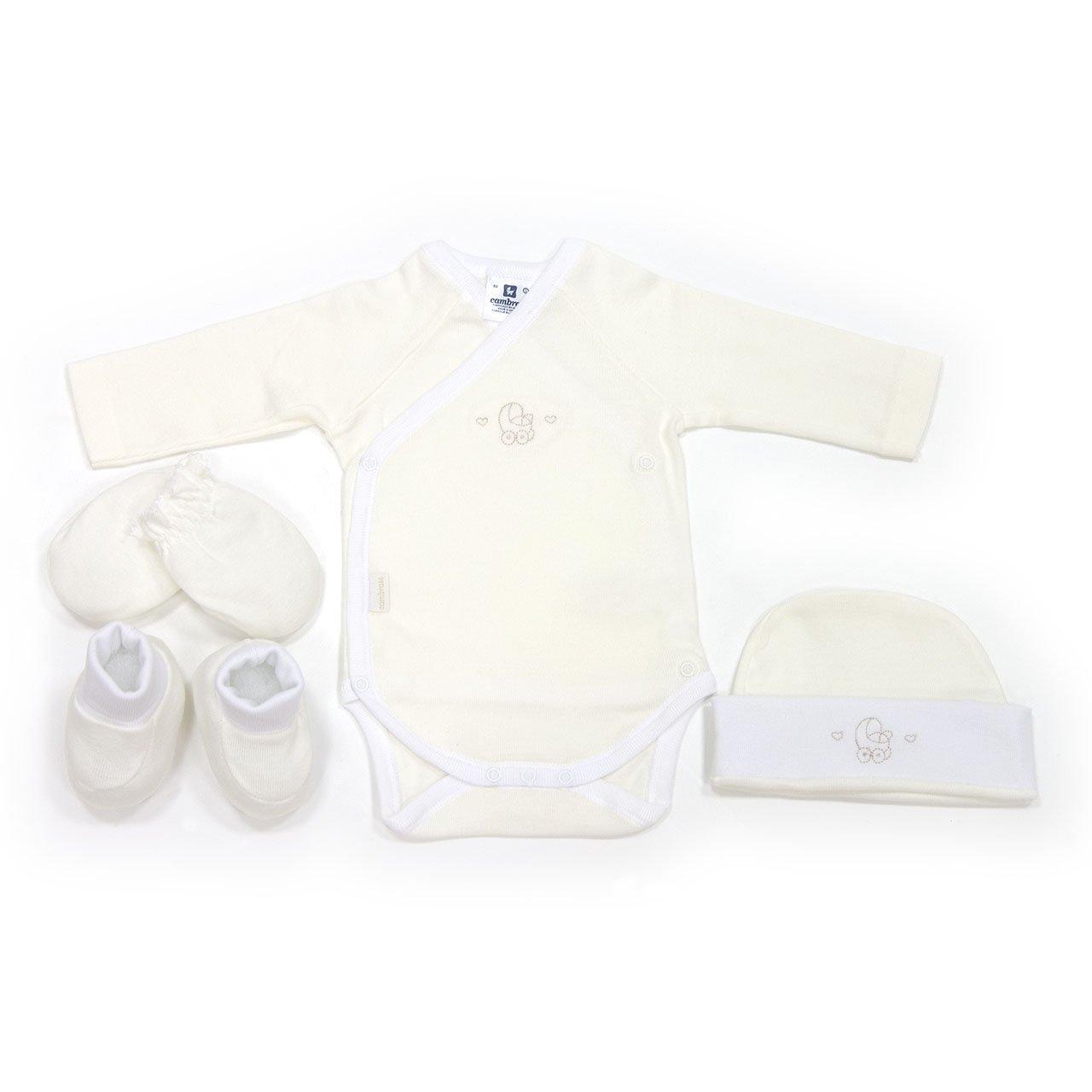Cambrass Juego de 4 piezas para recién nacidos, talla 52 cm color blanco 22047
