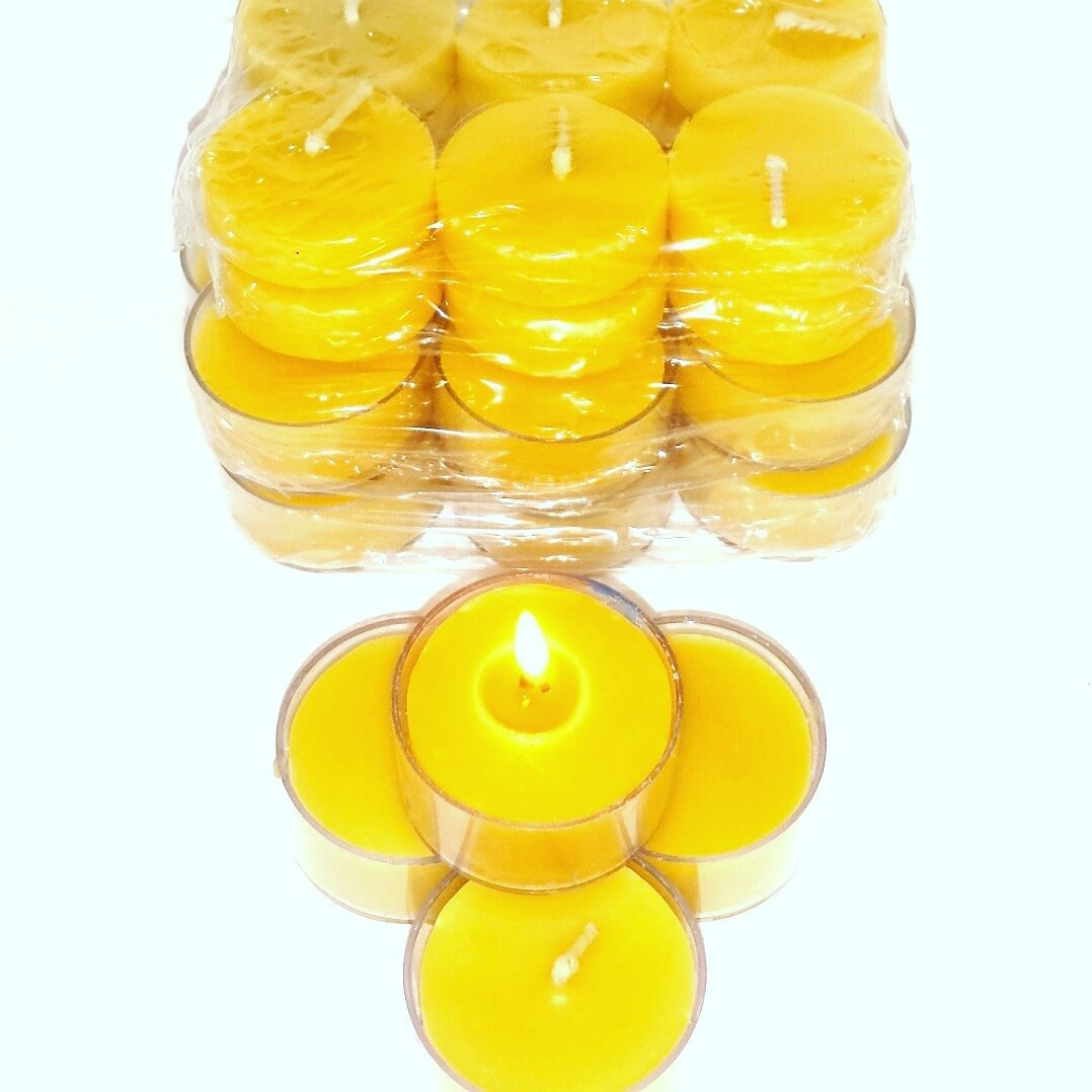 50 Pack Pure Organic Beeswax handmade tea light candles