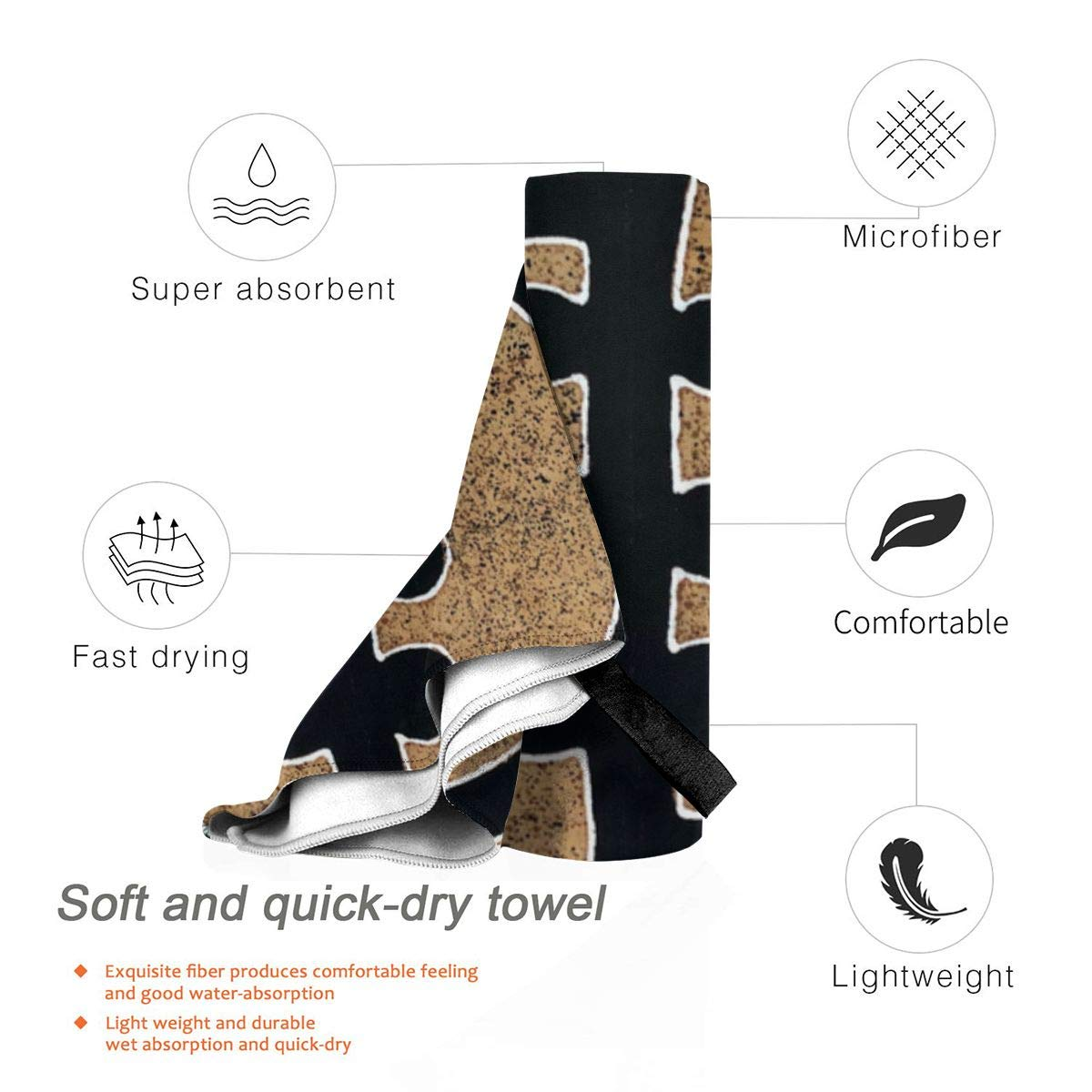 BlueTop Gye Nyame Beach Quick Drying Towel Microfiber Yoga Fitness Absorbent Towel Outdoor Climbing Quick Drying Towel