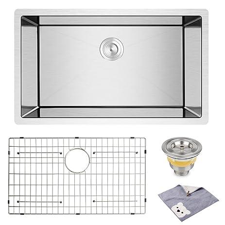yohom 32 inch undermount single bowl 16 gauge 304 stainless steel kitchen sink10 yohom 32 inch undermount single bowl 16 gauge 304 stainless steel      rh   amazon com
